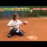 さすが元4番キャッチャー!武井壮の速球をいとも簡単に受けるダレノガレ明美