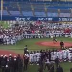 始球式でアイドルの稲村亜美さんに千人の中学球児が殺到!ネット上では怒りの声が